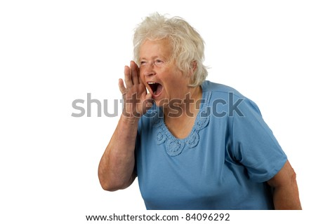 Senior woman is shouting loud, on white background