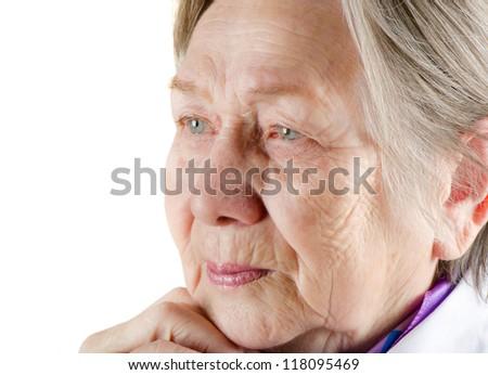Senior woman isolated on white - stock photo