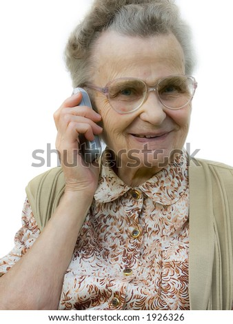 senior woman on a cellphone - stock photo