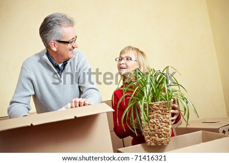 Senior woman packing spider plant in a moving box - stock photo