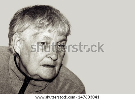 Senior woman portrait Black And White isolated - stock photo