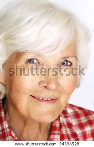 Senior woman portrait, on white background with white hair - stock photo