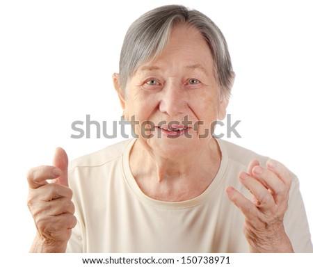 Senior woman's portrait isolated on white background - stock photo