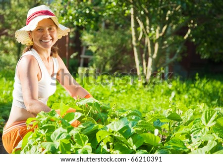 Senior  woman sitting in plant of pea