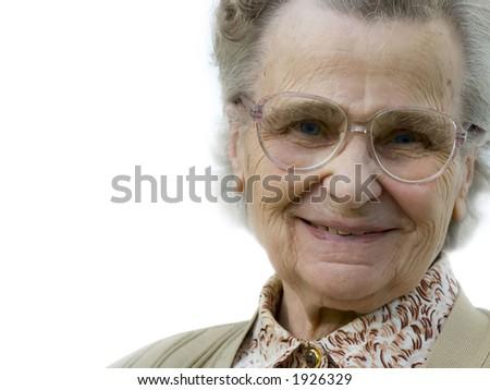 senior woman smiling - stock photo