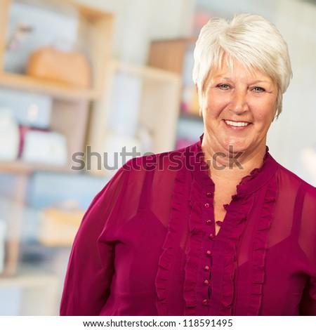 Senior Woman Smiling, Indoor - stock photo
