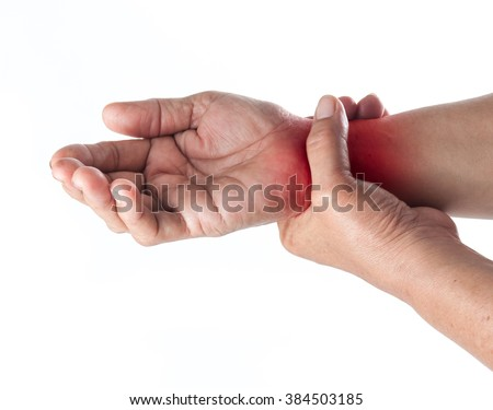 Senior woman touching her injured wrist on white background,suffering pain concept