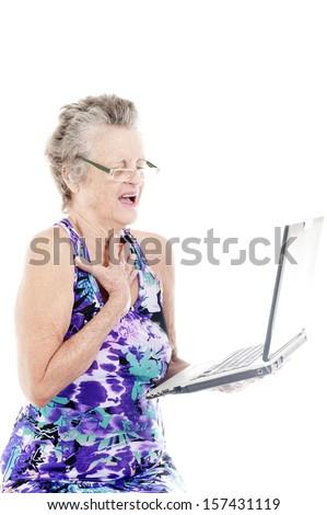 Senior woman using a Laptop . - stock photo