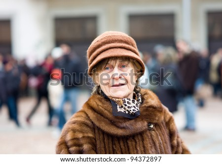 Senior Woman Winter portrait - stock photo