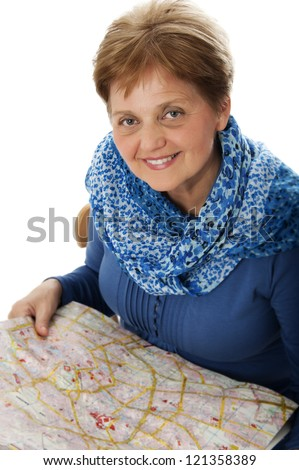 senior woman with a map - holiday concept - stock photo
