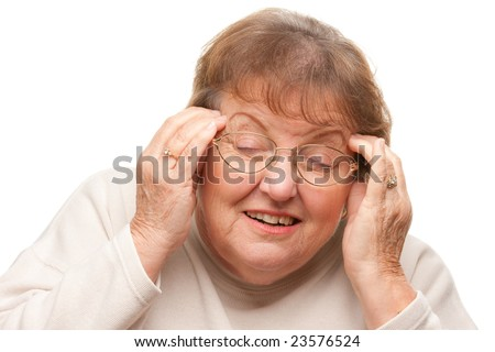 Senior Woman with Aching Head Isolated on a White Background.
