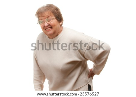 Senior Woman with Backache Isolated on a White Background.