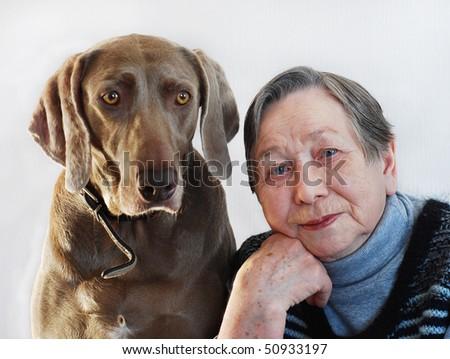 Senior woman with  dog - stock photo