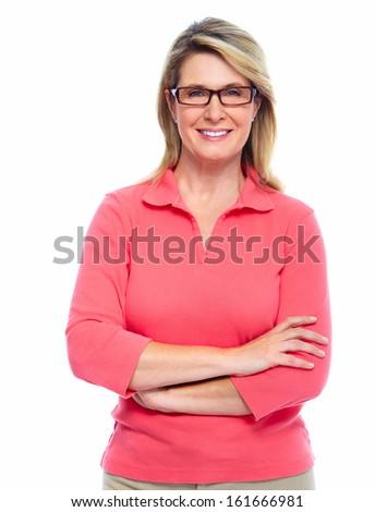 Senior woman with eyeglasses isolated white background - stock photo