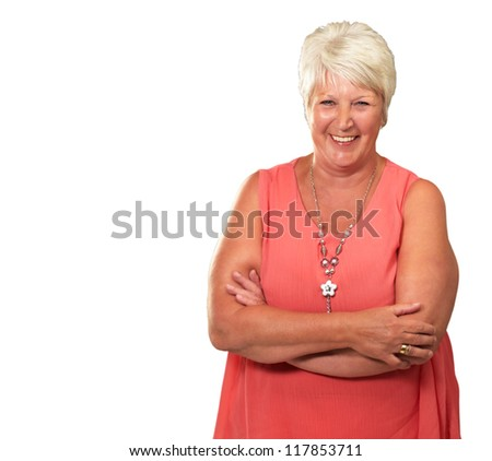 Senior Woman With Hands Crossed Isolated On White Background - stock photo