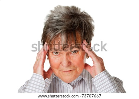 Senior woman with headache. Isolated against white background.