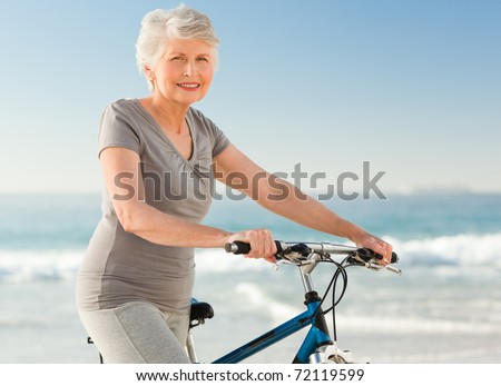 Senior woman with her bike