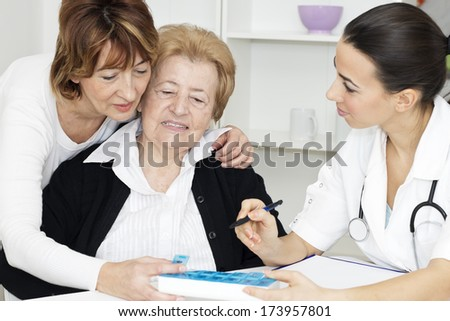 Senior woman with her daughter receiving instruction organizing pill box from young nurse. - stock photo