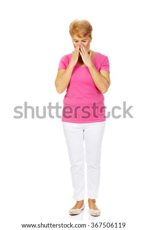 Senior woman with huge sinusache  - stock photo