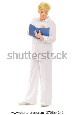 Senior woman with notebook isolated - stock photo