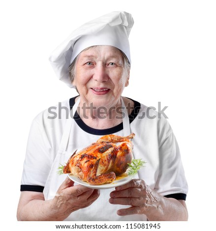 Senior woman with roasted chicken - stock photo