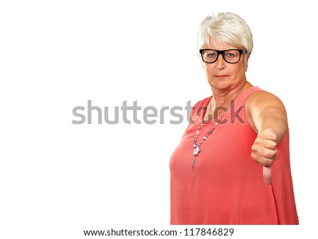Senior Woman With Thumbs Down Isolated On White Background - stock photo
