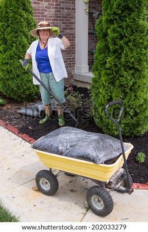 Senior woman working in the garden mulching a flowerbed with a rake looking up at the camera with a smile from under her sunhat with a bag of mulch on a cart in the foreground - stock photo