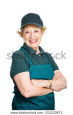 Senior woman works as a server to keep busy in retirement.  Isolated on white.