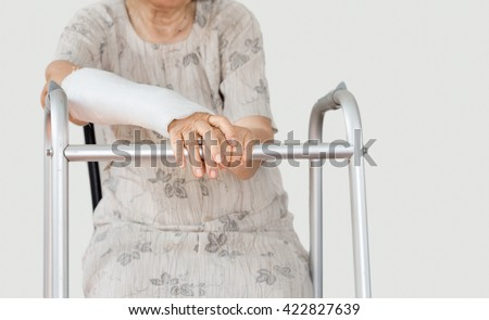 Senior women broken wrist using walker.