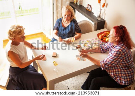 Senior women chatting and playing cards, at living room - stock photo