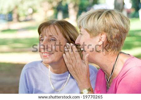 senior women gossip - stock photo