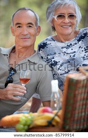 seniors at picnic - stock photo