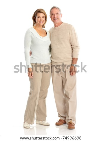 Seniors couple in love.  Isolated over white background - stock photo