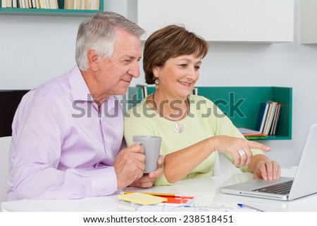 Seniors couple using a laptop computer. Woman pointing at something on the screen - stock photo