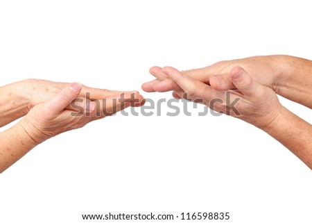 seniors hand on hand gesture, isolated