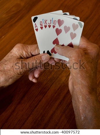 seniors hands holding a winning plaing card hand of a straight flush of hearts - stock photo