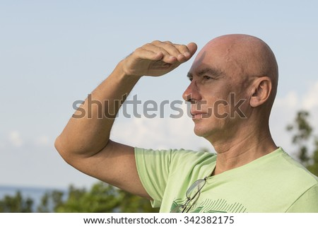 Seniors portrait, contemplative old caucasian man. Close up - stock photo