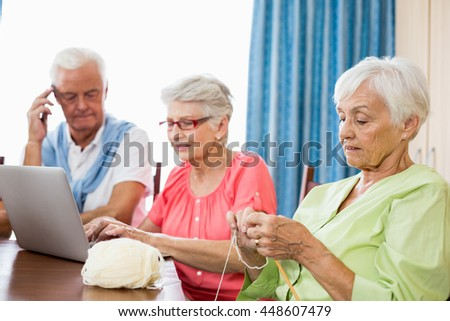 Seniors spending time together in a retirement home