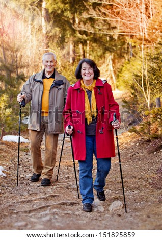 seniors walking in autumn forest / strolling - stock photo
