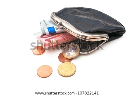 Seniors wallet with Euro currency. Debt and poverty concept