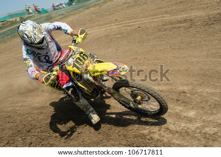 SENKVICE, SLOVAKIA - JULY 1: Lubomir Maniak (SVK) passes the corner on the race track during race 1 at the Motocross World Championship MX3 on July 1, 2012 in Senkvice, Slovakia