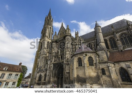 SENLIS, FRANCE, JULY 23, 2016 : interiors and details of the cathedral Notre Dame of Senlis, july 23, 2016 in Senlis, Oise, France