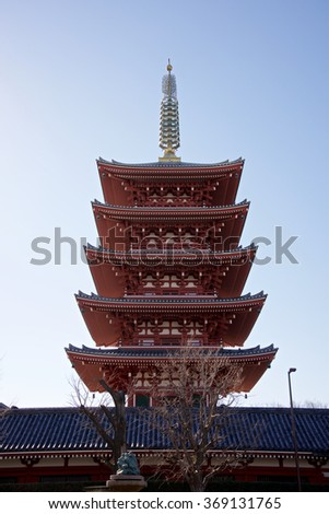 Sensoji (also known as Asakusa Kannon Temple) is a Buddhist temple located in Asakusa, Tokyo, Japan - stock photo
