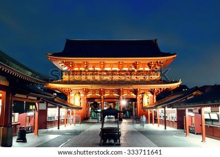Sensoji Temple in Tokyo Japan at night. - stock photo