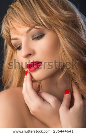 Sensual beautiful blonde woman  - stock photo