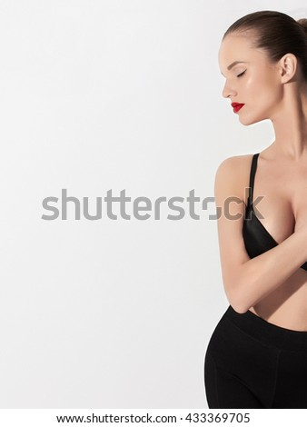 sensual blond woman in underwear.beautiful sexy girl with perfect breast - stock photo