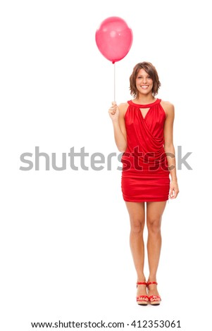 sensual brunette girl red dressed with red balloon isolated on white