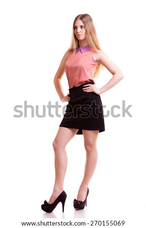 Sensual businesswoman full body isolated on white backgorund. Studio shooting. Young and rich. Successful businessperson. Full length - stock photo