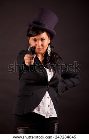 sensual businesswoman with top hat