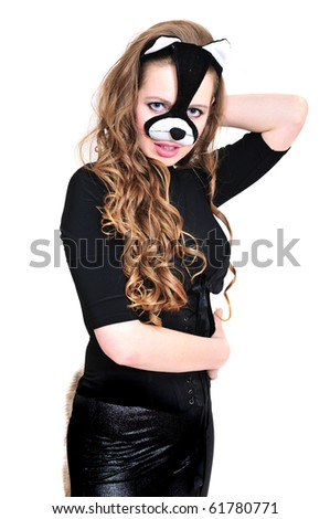 sensual cat girl with curly hair ready for Halloween - stock photo